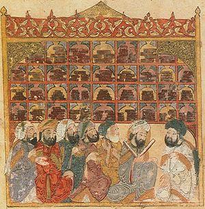 """Estudiosos en la """"Casa de la sabiduría"""", importante biblioteca, escuela de traducción e instituto de investigación establecida en Bagdad  en la época Abasí. Manuscrito con pintura (1237)"""