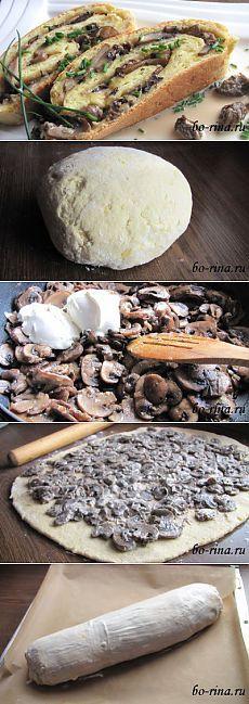 Рулет с грибами (картофельное тесто)