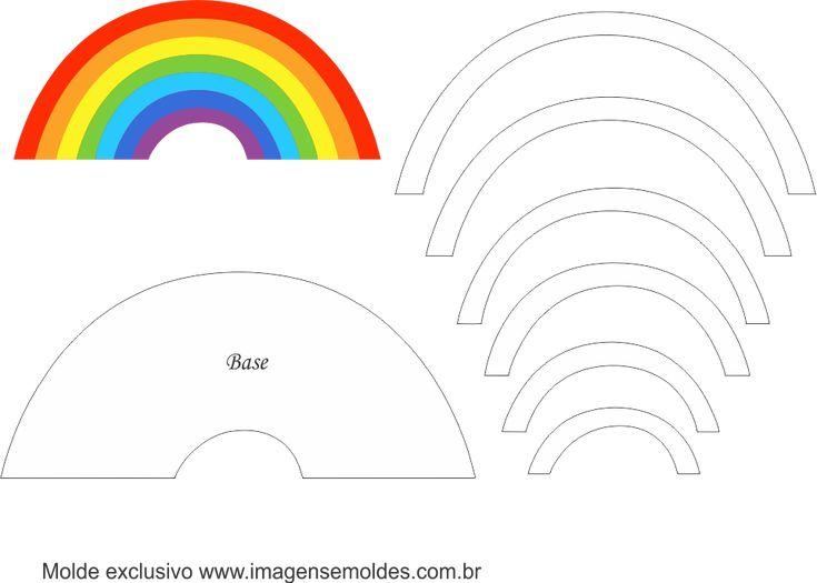 Molde de Unicórnio Elementos 2 para Feltro – EVA e Artesanato, Molde de Unicórnio Elementos 2 para EVA - Feltro e Artesanato, Arco Iris