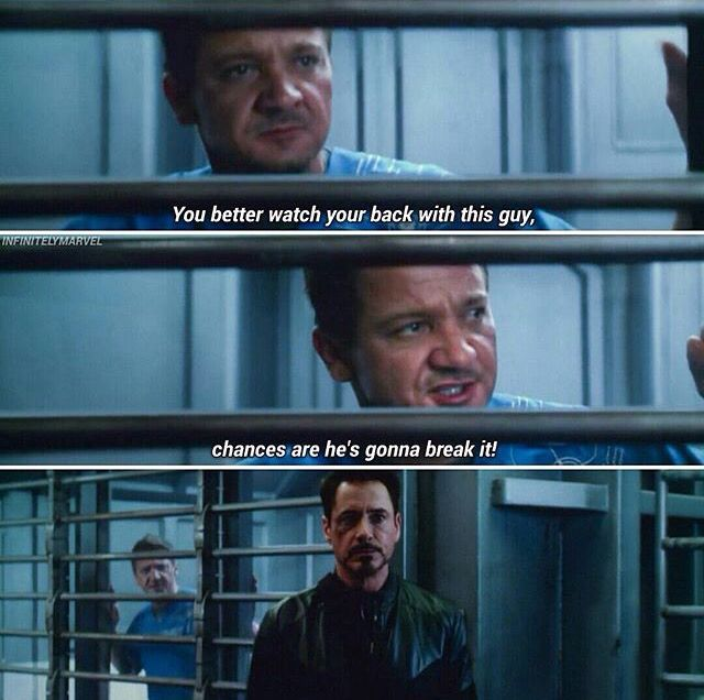 """""""Yeah, but you knew they'd put us somewhere right?"""" LOVE this scene with Clint and Tony."""