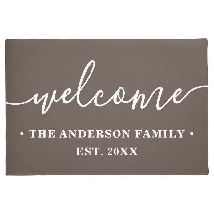 Modern Calligraphy Personalized Family Welcome Doormat Zazzle Com Personalized Family Personalized Door Mats Door Mat