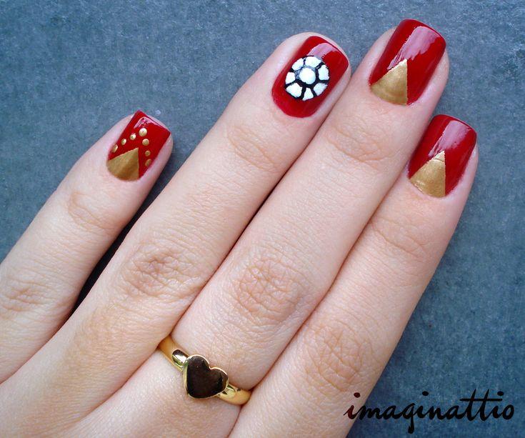 Iron Man nails (unhas inspiradas no Homem de Ferro) - By Imaginattio https://www.facebook.com/Imaginattio