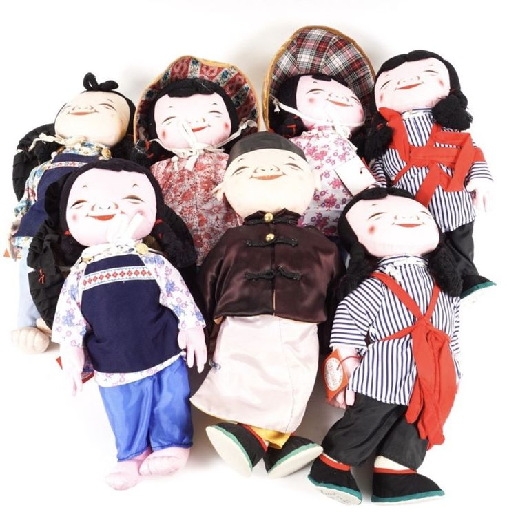 Seven (7) Vintage Signed Michael Lee Chinese Dolls MICALE  DOLL LOT COLLECTION