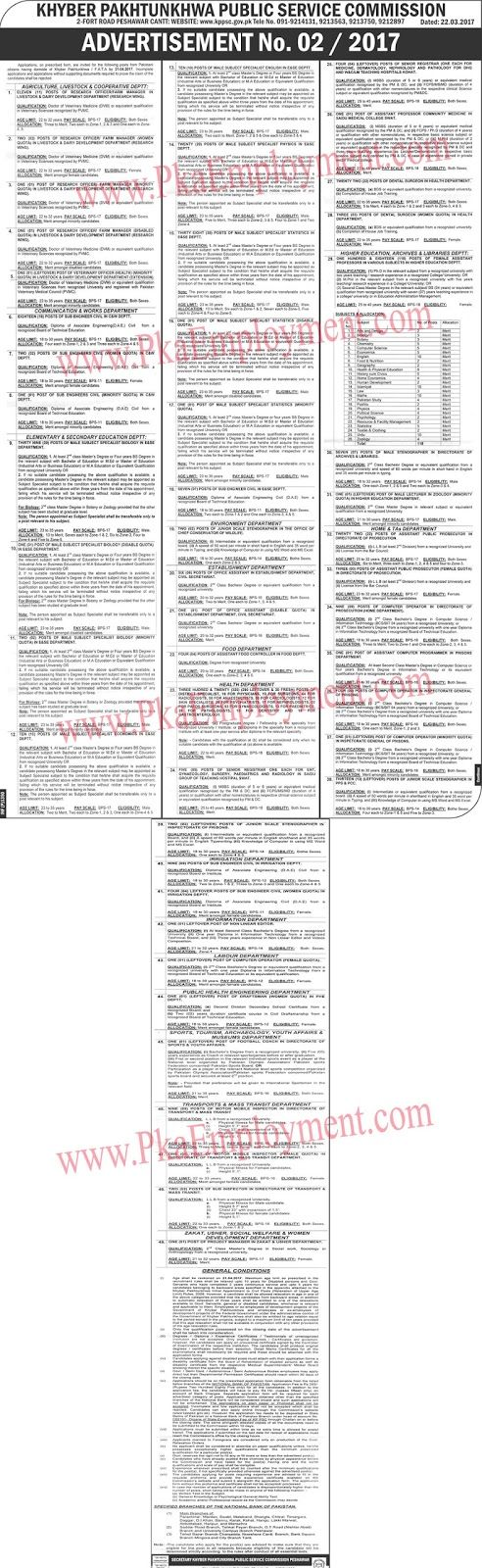 Khyber Pakhtunkhuwa Public Service Commission Jobs 2017Applications on prescribed from are invited for the following posts from Pakistani citizens having domicile of Khyber Pakhtunkhuwa?FATA by 21.04.207. Incomplete Applications and applications without supporting documents required to prove the claim of the Candidates shall be rejected.Number of Posts is 836Last Date of Applying is 21.April.207Vacancies  Research Officer/Farm Manager (For Men)  Research Officer/Farm Manager (For Women )…