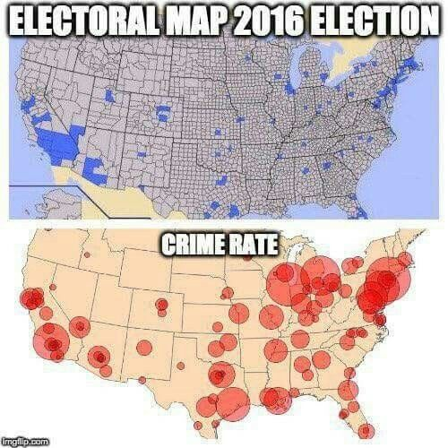 in the first graphic, the blue represents the Hillary supporters.  In the second graphic, the red represent the areas with the highest crime rates. coincidence? hmmmm BAHAHAHAHA   NOT!!