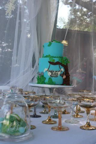 Cake and champagne at baby shower tea