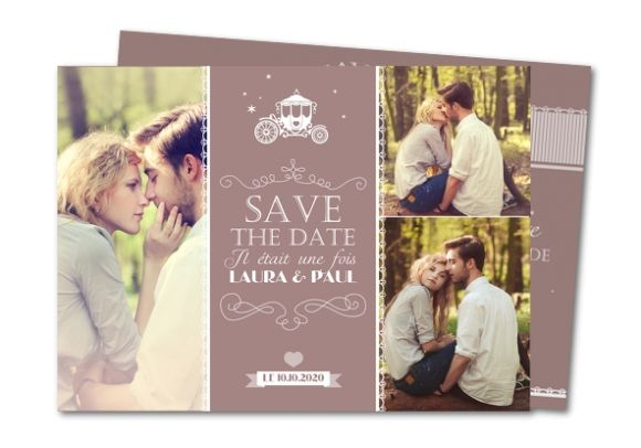 save the date caleche et dentelle #savethedate #mariage #conte