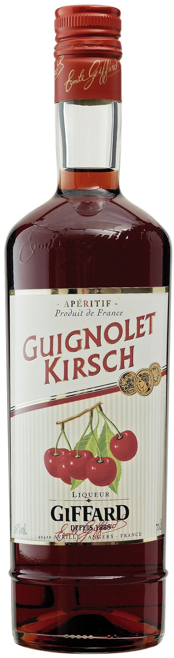 """Guignolet Kirsch : natural aperitif produced according to traditional manufacturing methods : maceration into alcohol of """"Griottes Montmorency"""" cherries and darker and sweeter cherries. A touch of kirsch is then added."""