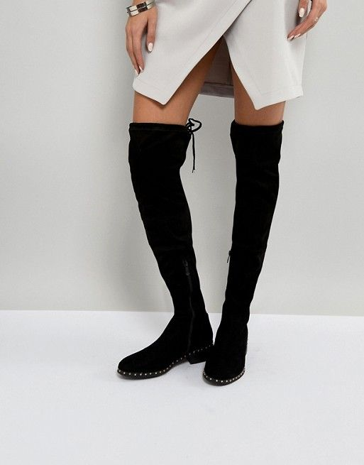 f8eddaed1aa RAID Studded Flat Over The Knee Boots | styling idea clothes | Boots ...