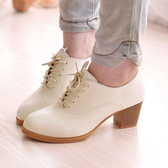 Special price new 2016 women pumps square heels fashion lace up  women boots comfortable high heels quality rubber women casual shoes ALF210 just only $12.35 - 13.33 with free shipping worldwide  #womenshoes Plese click on picture to see our special price for you