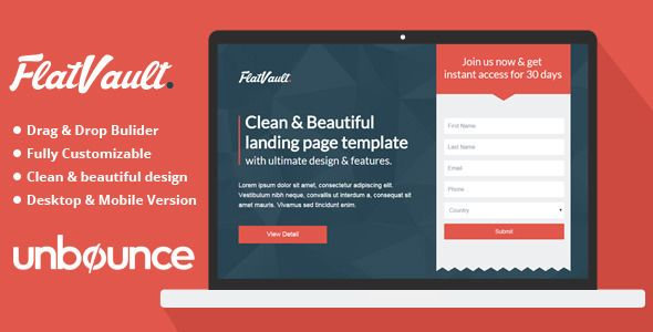 FlatVault is clean and modern Unbounce landing page template with ultimate design and layout.