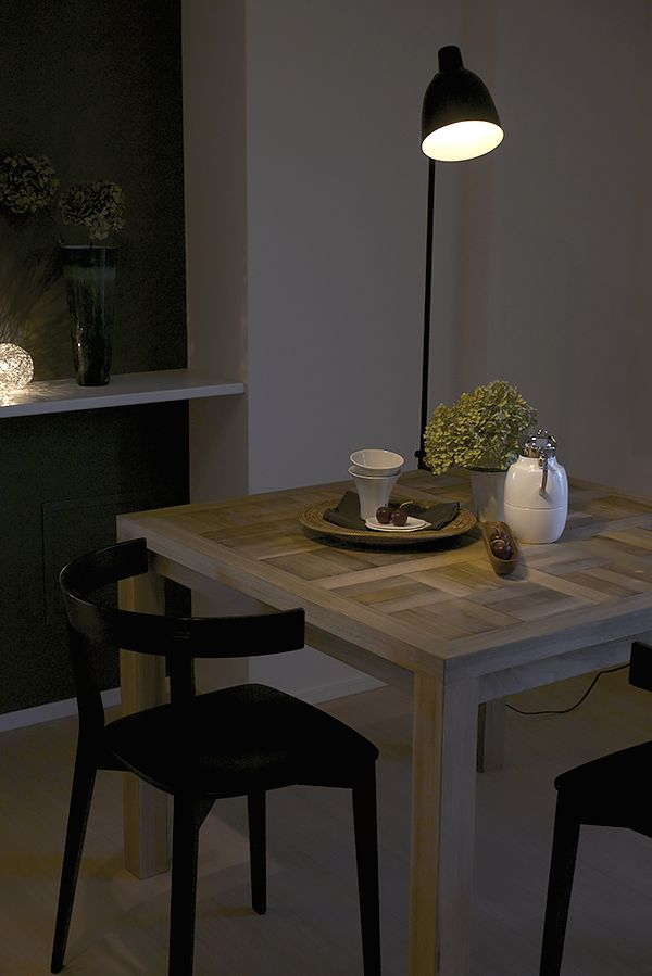 Original dining table with clip light