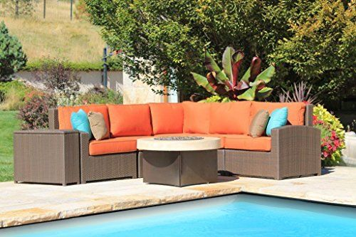Wicker High Back 4 Piece Curved Sectional With Curved Corner