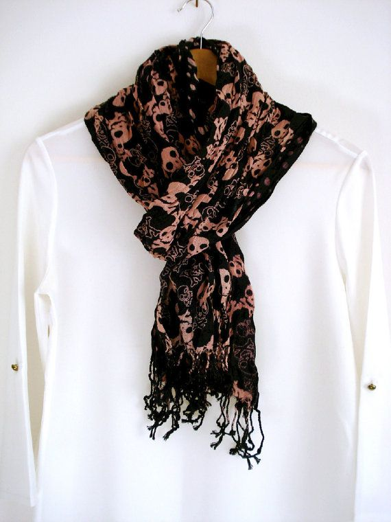 Skull printed crinkle cotton scarf. Skull Long Scarf. Perfect for Ladies and gentelmen.    Length : 180 cm Width : 60 cm    Care instructions: