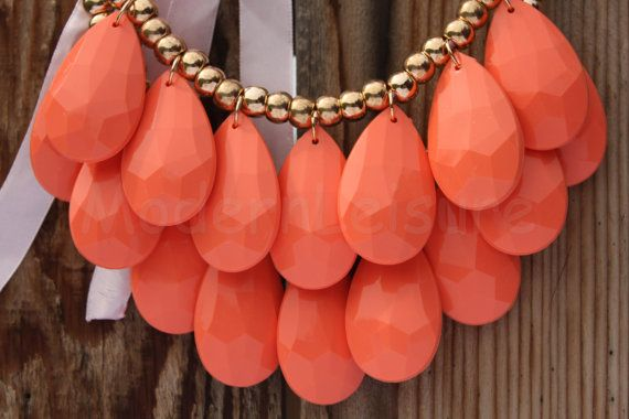 Coral Statement Necklace necklace Bib necklace by ModernLeisure, $14.99