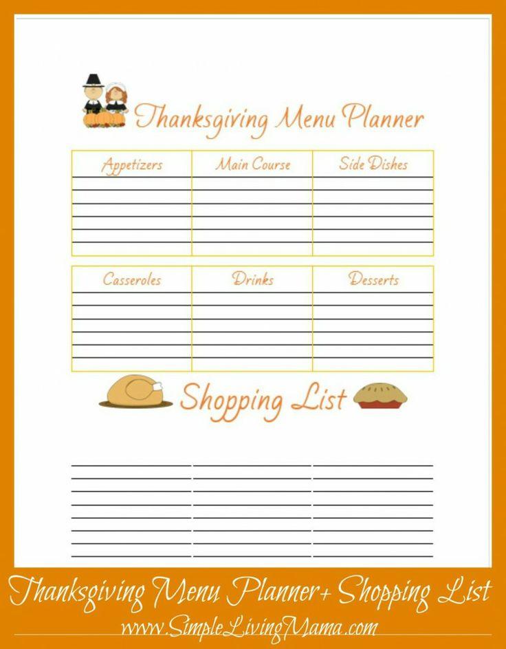 Free Printable Thanksgiving Menu Planner & To Do List