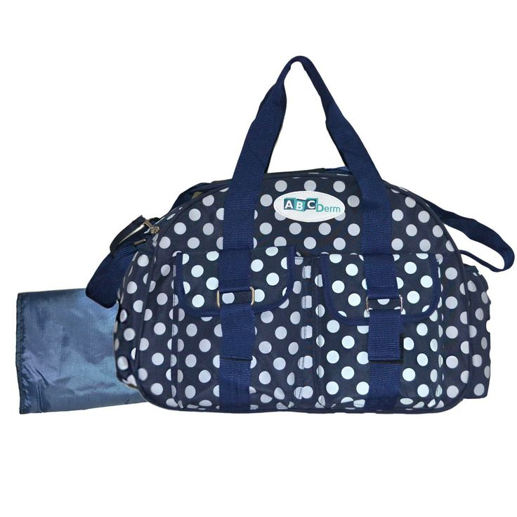 dribbleanddrool - Navy and Polka Dot Nappy Bag with Thermal Bottle Pocket