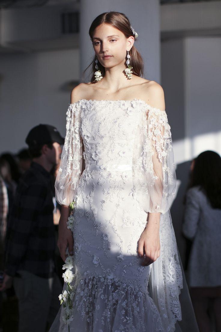Bohemian Gowns / Backstage / Marchesa Fall 2017 Bridal / Photo The LANE