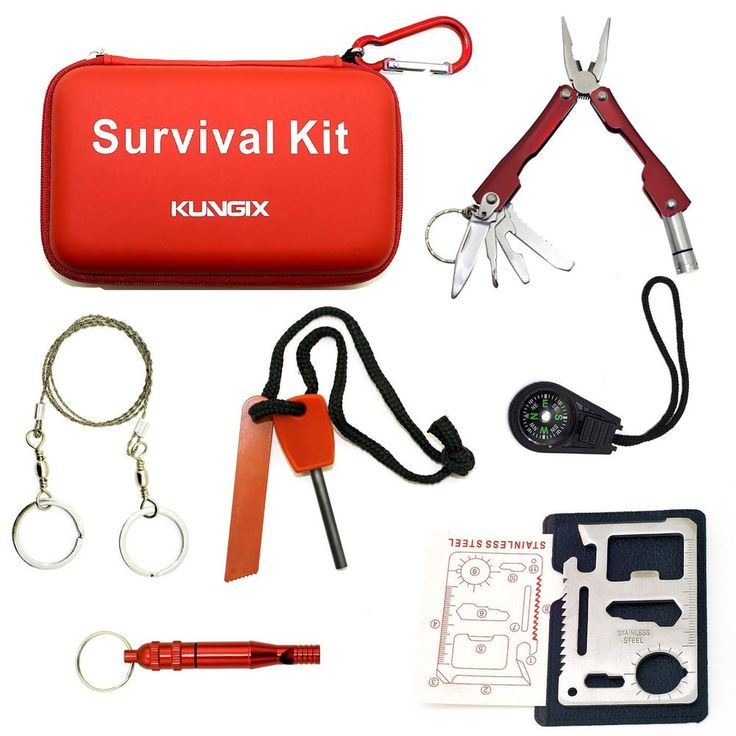Kungix Outdoor Emergency Survival Gear Kit with Waterproof Bag #Kungix