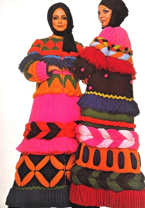 Promise me you will never, ever, ever crochet anything like this. Please.  Carosa Woolen Coats 1969 Vogue