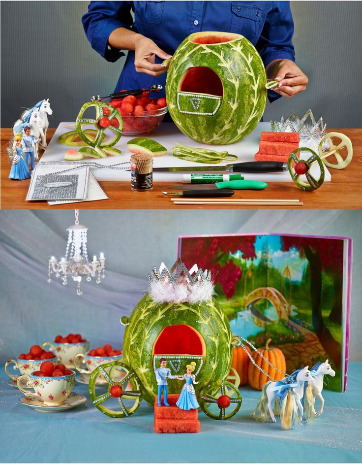 Learn to carve a #Cinderella Watermelon Carriage! #watermeloncarving