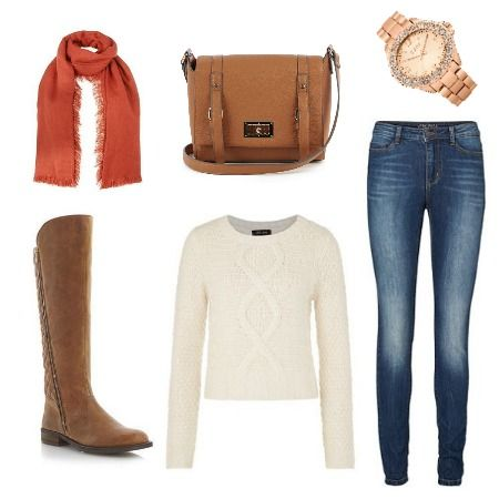 Relaxed Autumn outfit from ClothingByColour.com Chunky Cable Knit Cropped Jumper, Dark Orange Frayed Hem Scarf, Vero Moda Skinny Jeggings, Quilted Back Knee High Leather Boot, Lock Detail Satchel, Rose Gold Bracelet Watch Rose Dial