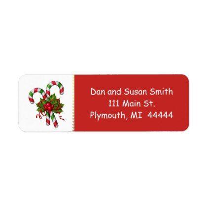 #Candy Cane Christmas Address Label - #Xmas #ChristmasEve Christmas Eve #Christmas #merry #xmas #family #kids #gifts #holidays #Santa