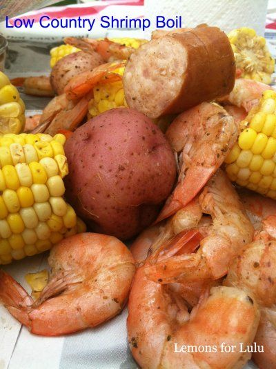 Low Country Shrimp Boil - 3 Qts water, 1 lbs red potatoes, 5 ears of corn (cut in quarters), 1 lbs smoked sausage, 2lbs uncooked shrimp, 1/3-1/2 cup Old Bay seasoning (serves 16ppl) Boil potatoes first in seasoned water 15min, add sausage boil 5min, add corn boil 5min, add shrimp boil 4min. Drain water. Serve on big dish