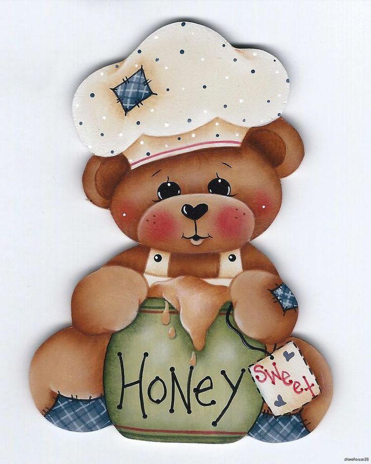 TEDDY BEAR w/ Honey Jar - Designed and handpainted by Pamela House