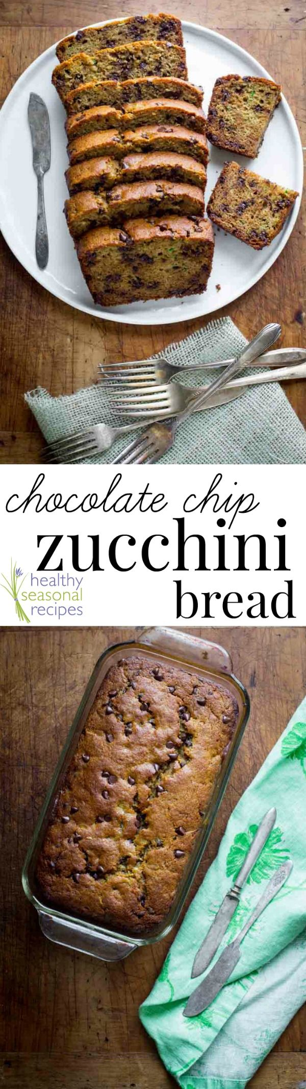 Blog post at Healthy Seasonal Recipes : Once this honey sweetened and whole grain chocolate chip zucchini bread recipe is sliced, it stands no chance of lasting more than a few min[..]
