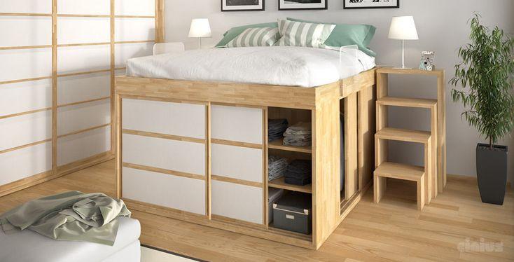 cama de casal / tatame / contemporânea / em madeira - tatami