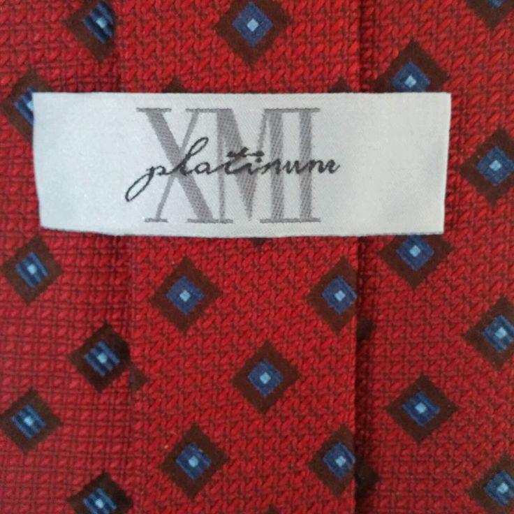 XMI PLATINUM Red w/tiny blue squares 100% Italian Silk tie Made in USA EUC #XMIPlatinum #Tie
