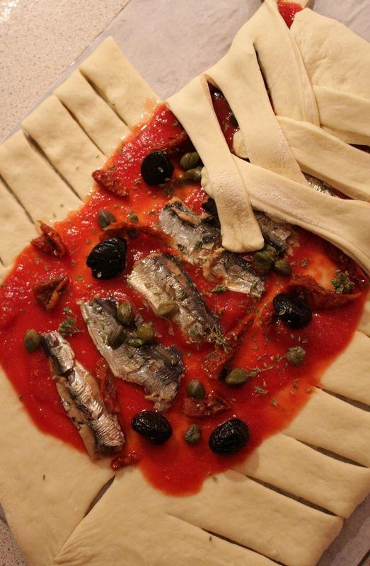 Pizza tressée façon calzone