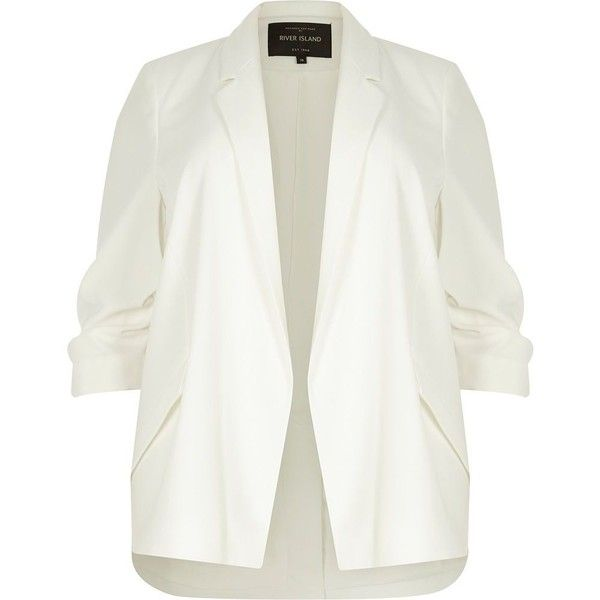 River Island Plus white ruched sleeve blazer (145 CAD) ❤ liked on Polyvore featuring outerwear, jackets, blazers, coats / jackets, white, women, woven jacket, ruched-sleeve blazer, white blazers and plus size blazer jacket