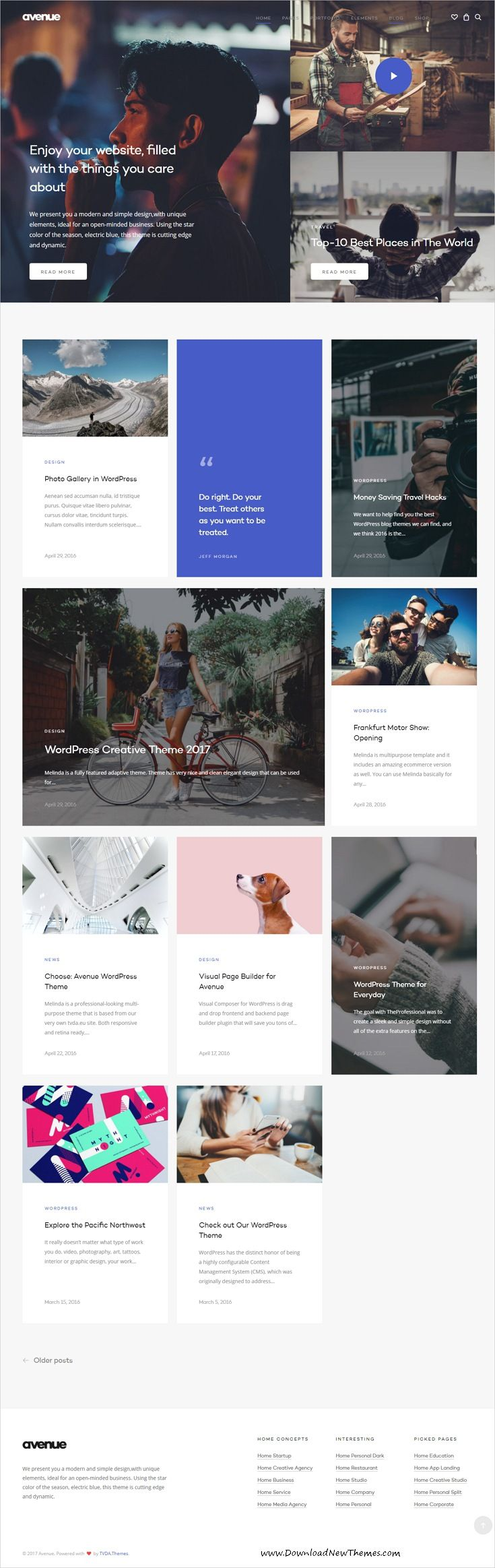 Avenue is clean and modern design multipurpose responsive #WordPress theme for creative #blogging website with 30+ niche homepage layouts download now..
