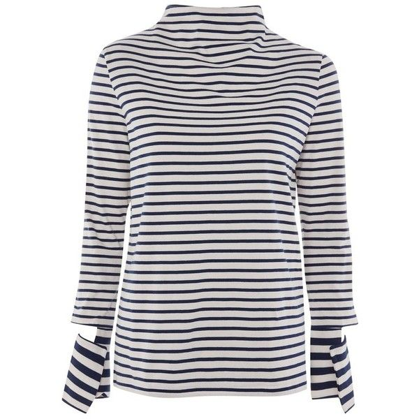 Women's Topshop Boutique Cutoff Sleeve Stripe Top ($58) ❤ liked on Polyvore featuring tops, navy blue multi, slouchy tops, striped top, navy blue top, long sleeve tops and cut off top