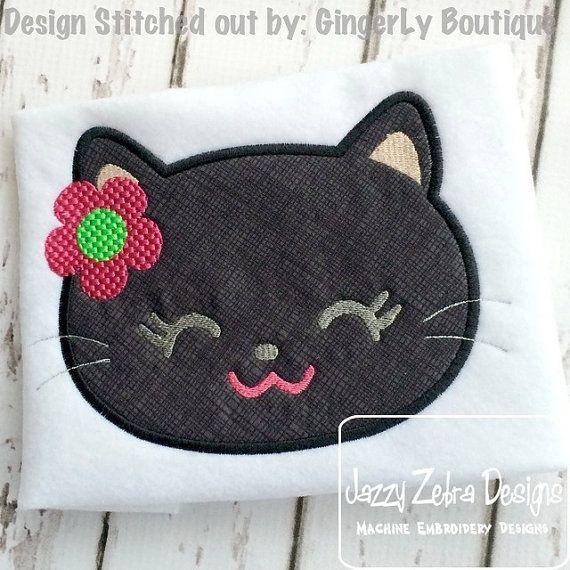 Girl Black Cat Face 71 Appliqué embroidery Design - cat Appliqué Design - kitten Appliqué Design  - halloween Applique Design