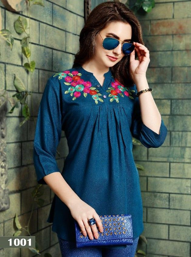 83f92caf5a Riya Designer Compass Rayon Dyed 14 kg with work Tops (6 Pc Set ...