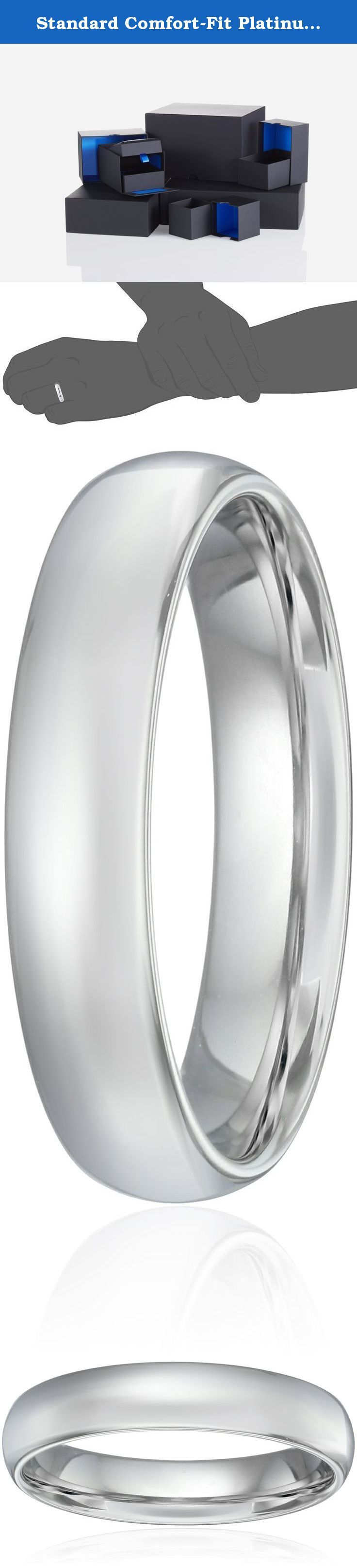 Standard Comfort-Fit Platinum Band, 5mm, Size 10.5. Choose a solid, classic look with this 5mm comfort fit men's wedding band, crafted in strong and radiant 950 platinum. This handsome band has a slightly rounded shape and a bright polished finish. The comfort fit design features a rounded polished interior that allows the ring to slide on easily and rest comfortably on the finger. Platinum is a beautiful and popular precious metal, valued for its extreme rarity and natural silver-white...