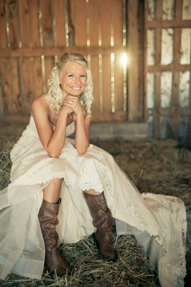 Bride in cowgirl boots! western country wedding picture