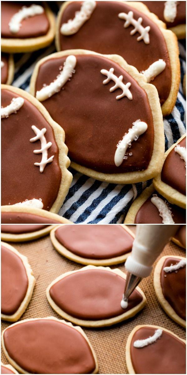how to make adorably decorated football cookies recipe on sallysbakingaddiction com football cookies super bowl cookies football sugar cookies how to make adorably decorated football