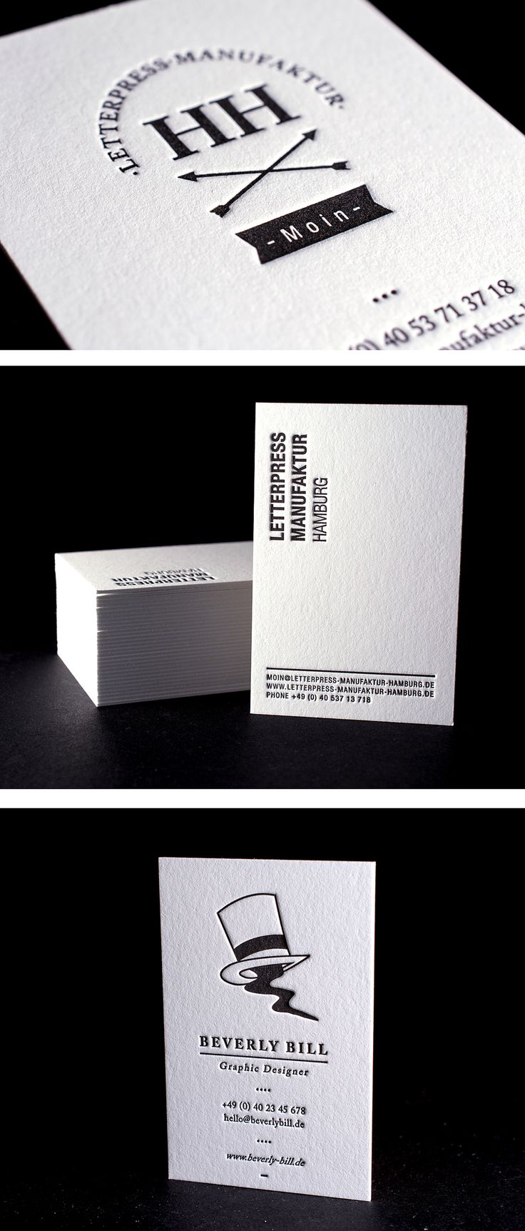 650 gsm Letterpress paper with 1.3 volume and deep impression printing | Jubilee-Offer for bw business cards at http://shop.letterpress-manufaktur-hamburg.de/