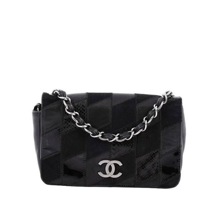 Chanel Chain CC Full Flap Bag Mixed Media Patchwork Small