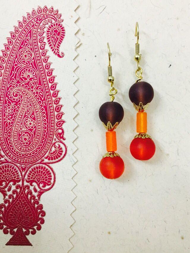 Brown n orange matte earring