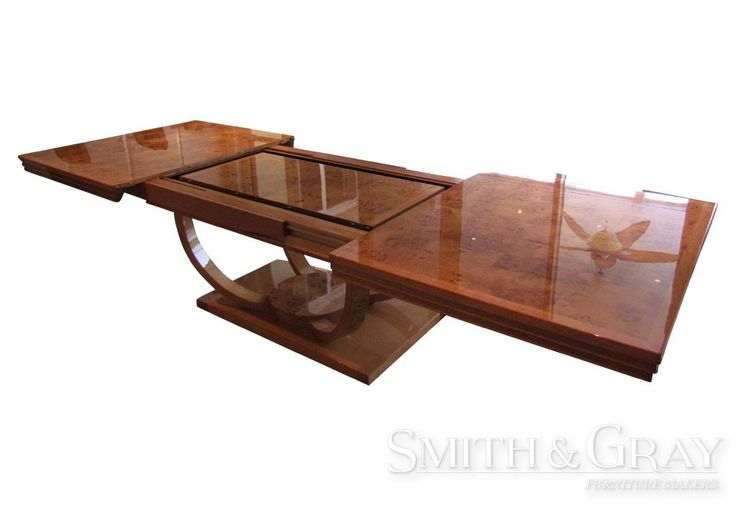 Custom made extension dining table with felt lined leaf storage - See more at: www.smithandgray.com.au