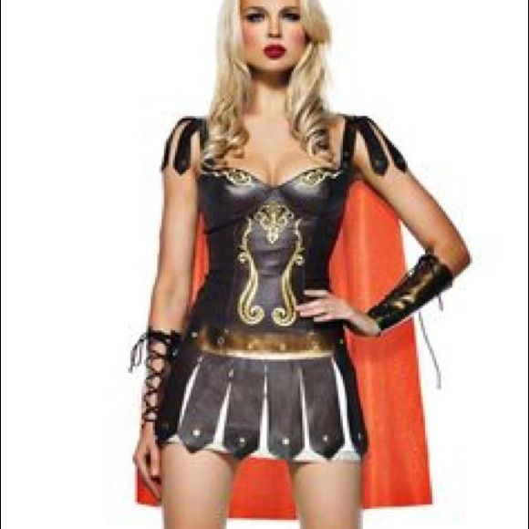 Sexy Gladiator Costume I attempted to wear this costume last Halloween but it was too big for me. (They were all out of Smalls). It's never been worn out. 8 pieces included: Headband Corset with shoulder guards Cape Arm sleeves (2) Skirt Shin guards (2)  I posted a photo of a similar costume modeled. I cannot model this costume. It's too big on me. It's a true 6/8 size.  #halloween #gladiator #zenawarriorprincess #warriorprincess #gameofthrones #costume #halloweencostume #sexy Other