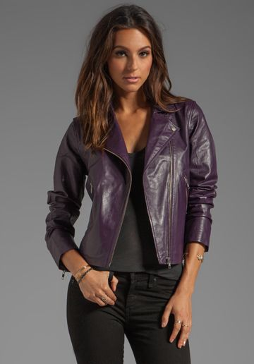 Image result for purple leather jacket