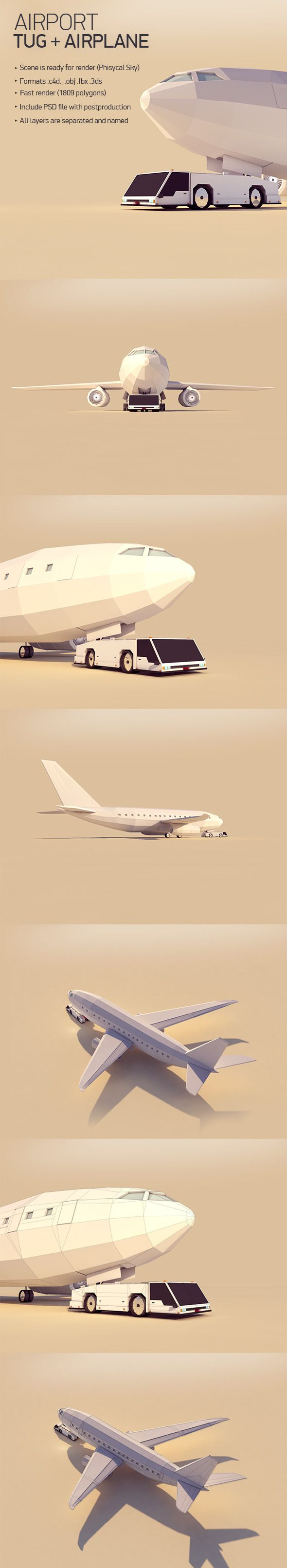- Low poly Tug and Airplane- Created on Cinema 4d- Formats: .c4d, .fbx, .3ds, .obj- Rendered by Physical Sky- Include PSD file with postproduction- Fast render http://sternencluster.ovh/product/airport-tug-and-plane.html
