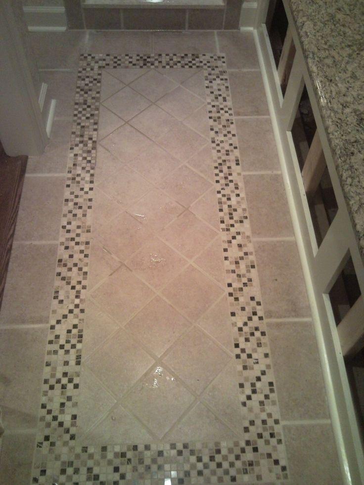 30 Creative Tile Rug Inlay Ideas For Your Bathroom The Urban Interior Patterned Floor Tiles Tile Floor Floor Tile Design