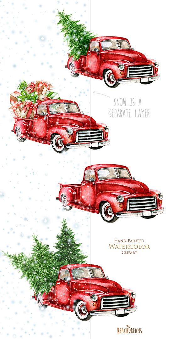 This set of 4high quality hand painted watercolor red trucks + separate layer snow Perfect graphic for Christmas projects, winter holidays, greeting cards, photos, posters, quotes and more.  Item details:  5 PNG files (300 dpi, RGB, transparent background)  4 red trucks size (larger side) aprox.: 17 in, 5100 px snow size (larger side) aprox.: 19 in, 5700 px Instant Download: Once payment is cleared, you can download your files directly from your Etsy account…